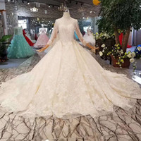 Luxury Princess Wedding Dresses Pure New High Neck Long Tull...