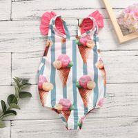 Dondurma bebek çocuk bebek kız mayo çizgili yay bikini yüzme kıyafetleri 6m-4y
