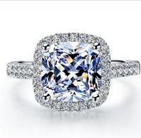 18k branco banhado a ouro 3ct almofada de zircão anel de diamante halo para mulheres esterlinas de prata jóias transporte rápido de EUA