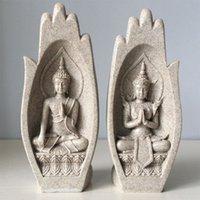 2ST Hände Skulpturen Buddha Statue Mönch Figur Tathagata Indien Yoga-Hauptdekoration Zubehör Ornaments Drop T200703