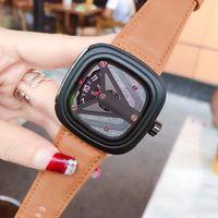 7 пятницу Мужская мода часы высокого качества из натуральной кожи ремешок кварца Современный стиль большой циферблат лучший подарок Релох Montres налить Hommes Orologi
