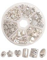 Una caja de 160PCS plata Antiqued espaciador de metal Cuentas de bricolaje accesorios de joyería