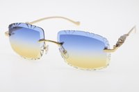 Gratis Shippin Randloze Gesneden Lens T8200761 Luipaard Diamond Serie Zonnebril Nieuwe Randloze Bril Hot Unisex Driver Sunglasses Blue Mix Rood