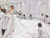 Custom made Long Train 3m Wedding Dress 2019 Lace 3D floral applique sparkly princess church Wedding dresses Vestido de Noiva