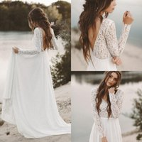 Simple Fall White Top Lace Cheap Country Beach Wedding Dress...