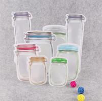 Mason Jar a forma di cerniera con cerniera sacchetto di immagazzinaggio della cerniera riutilizzabile di stoccaggio del cibo per il contenitore del contenitore del contenitore degli snack dei biscotti dei biscotti della caramella Borse di organizzazione della cucina