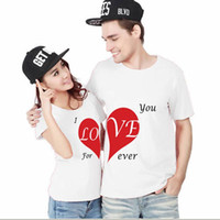 Yeni Yaz Komik Çift T Shirt Yarım Kırmızı Kalp Aşk Baskı Pamuk O-boyun Tees Kısa Kollu Çift Giyim Soğuk