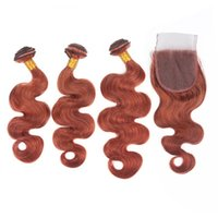 다크 어 번 바디 웨이브 인간의 머리카락 3Bundles 클로저 구리와 레드 인도 인간의 머리카락 클로저 # 33 헤어 번들 레이스 클로저 4x4와 함께