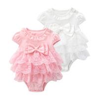 Bebê recém-nascido Menina Macacão Lace Bow meninas de Aniversário princesa Macacão Bebê sem mangas para o verão Tulle Cupcake Vestido