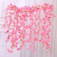 Сакура вишня цветок ротанга свадебные украшения арки лозы искусственные цветы для дома сад декор DIY Шелковый плющ гирлянда венок