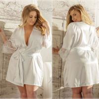 Sexy Wäsche-Frauen-Milch-Silk Spitze-Robe-Kleid Babydoll Nachthemd Nachthemd Spitze G-String-Unterwäsche