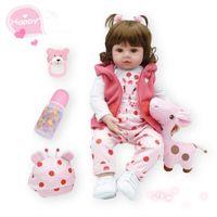 Hot 48cm Baby Reborn Real Menina Soft Silicone Reborn Baby Dolls With Giraffe Playmate Birthday Gifts Fashion Stuffed Doll Toys kids gift