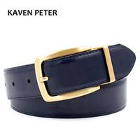 Cintura da uomo reversibile in oro di lusso Cintura in vera pelle da uomo in ottone massiccio Cintura in ottone puro Fibbia reversibile Spedizione gratuita