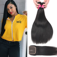 Brazilian Virgin Hair Bundles With 4x4 Lace Closure Straight...