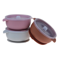 Bébé enfant en bas âge silicone bols non-Slip aspiration Bol avec couvercle anti fuite sans BPA Infant Feeding Arts de la table
