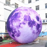 ضخمة الإضاءة نفخ القمر كوكب الكرة شخصية LED الأقمار الصناعية بيربل مون نموذج بالون للحفلات وملهى ليلي الديكور