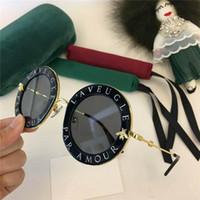 العلامة التجارية الساخنة الموضة الجديدة 0113 النظارات الشمسية إطارات إمرأة أسود نظارات معدنية درع ذهب إطار نظارات L'Aveugle الاسمية العمور الذهب الأسود