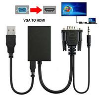 VGA Erkek için HDMI Çıkışı 1080P HD + Ses TV HDTV Video Kablosu Dönüştürücü Adaptör 3E16