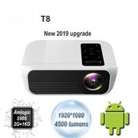 جهاز العرض T8 الجديد LED 4500 لومينز 1920 * 1080 ، المسرح المنزلي ، كامل الدقة ، 1080 بكسل ، Amlogic S905 2G 16G Android 7.1 Proyector Beame