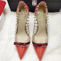 Kobiety PVC Wyczyść Plastikowe Pompy Point Toe Nity Przejrzysty Film Kolce Studded Bow Switch Płytkie usta Stiletto Wysokie Obcasy Pojedyncze buty