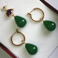 Basit y decente 12 * 16mm verde jades colgante pendientes conjuntos mejor regalo para mujer