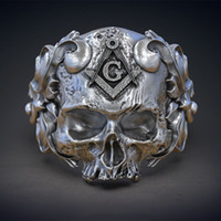 Cool High Detail Masonic Skull Floral Totem Rings 316L Stain...