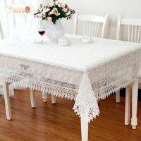 Proud Gül Beyaz Dantel Masa Örtüsü Düğün Dekor Saydam Masa Kapak İşlemeli Masa Örtüsü Çay Masa Örtüsü Ev Dekorasyonu