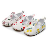 Bébé cerise filles chaussures imprimé tout-petits enfants chiffon doux chaussures respirantes bébés T élastiques premiers marcheurs filles chaussures de princesse A2508