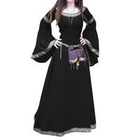 Оптово-ретро Женщины Medieval Полная длина Длинные рукава вокруг шеи Тонкий партии Cosplay платье