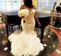 Abito africano Plus Size abiti da sposa Sweetheart Ruffles sposa Mermaid Lace Up Back tulle e pizzo Abiti da sposa Dubai arabo Vestidos