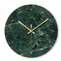 Mármol Reloj de pared simple decorativo creativo nórdico moderno mármol reloj de pared para sala de estar cocina dormitorio de la oficina