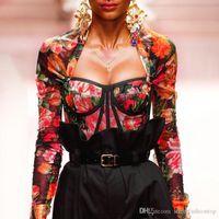 20SS Kadınlar Tasarımcı tişörtleri Moda İnce Perspektif Çiçek Baskılı Aquare Yaka Uzun Kollu Yeni Geliş Kadın Giyim Tops