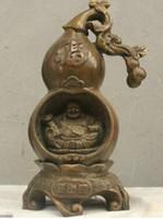Arte Decoração de Bronze Artesanato de Bronze Chinês Folk HandMade Estátua de Bronze de Bronze Cabaça Sorte Maitreya Escultura de Buda