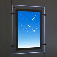 (1 unité / colonne) Kits de cadres pour affiches rétro-éclairés avec un câble suspendu A3 simple face, affichages à fenêtre pour l'immobilier, agences de location