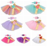 2020 nuove neonate tutu abito colorato arcobaleno neonati gonne con i set di fascia vacanze bambini balla i vestiti di colore tutù caramelle