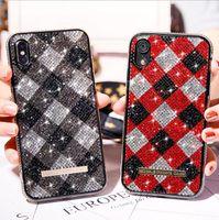 Pour iPhone 11 Checkered Full Diamond strass TPU doux téléphone cellulaire cas pour iPhone 11 Pro Max XS Max XR 6S 7/8 plus