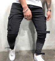 Skinny Jeans Biker Uomini multi-tasca dei pantaloni Bendaggio Slim Cargo Pantaloni per gli uomini Motociclo Hip hop Streetwear Swag pantaloni del denim