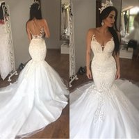 2019 Arabic Sleeveless See Through Tulle Sexy Mermaid Weddin...