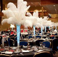 200 unidades por lote 10-12 polegadas Branca de penas de avestruz Plume Artesanato Fontes do partido da tabela do casamento Centerpieces Decoração frete grátis