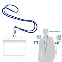Longe avec support d'identité horizontale (Royal Blue 100 Pack) comprend des plaquettes papier