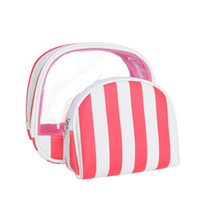 Cosmetic Bag PVC Star Print Two Piece Set Stripe Candy Color...