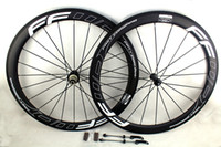 Carbon road bicycle wheels 50mm FFWD white line decals clinc...