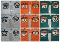 81c51aec9 Vintage Miami Hurricanes College Football Jerseys Men Youth 26 Sean Taylor 52  Ray Lewis R.Lewis 20 Ed Reed University Football Shirts