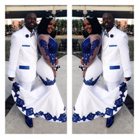 New White Satin Royal Blue Lace Aso Ebi African Prom Dresses...