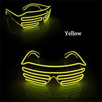 Led 파티 안경 EL 와이어 형광등 플래시 유리 창 새 해 부활절 졸업 파티 생일 파티 바 장식 빛나는 바 안경