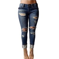 Hot vente Femmes Juniors Distressed Ripped Slim Fit Skinny Jeans Denim Stretchy Pantalons capris trous cassés design