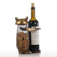 Tooarts Kedi Şaraplık Mantar Konteyner Şişe Şarap Tutucu Mutfak Bar Ekran Metal El Sanatları Hediyelik El Sanatları Hayvan Standı