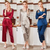Silky Sleep Pajamas Womens Strap Top Pants Suit Faux Silk Sl...