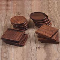 الجوز الأسود الوقايات خشبية 4 أنماط مربع جولة الخشب ابريق الشاي كأس ماتس السلطانية لوحات أدوات المائدة العزل وسادة كوستر مطبخ الرئيسية شريط الأدوات