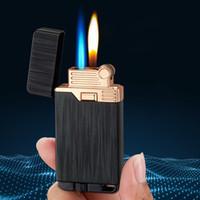 Gaz İki Alevler Torch Çakmak Metal Bütan Turbo Çakmak Windproof Gaz Çakmak Elektronik Sigara Aksesuarları Sigara Çakmaklar